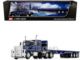 "Mack Super-Liner 60"" Sleeper Cab Tri-Axle Flatbed Trailer Dark Blue Black 1/64 Diecast Model DCP First Gear 60-0987"