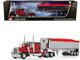 "Peterbilt 389 63"" Flattop Sleeper Cab MAC Coal End Dump Framed Tri-Axle Trailer Tarp Red Chrome 1/64 Diecast Model DCP First Gear 60-1005"