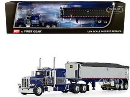 "Peterbilt 389 63"" Flattop Sleeper Cab MAC Coal End Dump Framed Tri-Axle Trailer Tarp Blue Chrome 1/64 Diecast Model DCP First Gear 60-1007"
