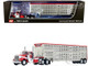 Kenworth W900A Day Cab Wilson Silver Star Livestock Tandem-Axle Trailer Koppes Truck Line Red White 1/64 Diecast Model DCP First Gear 60-1010