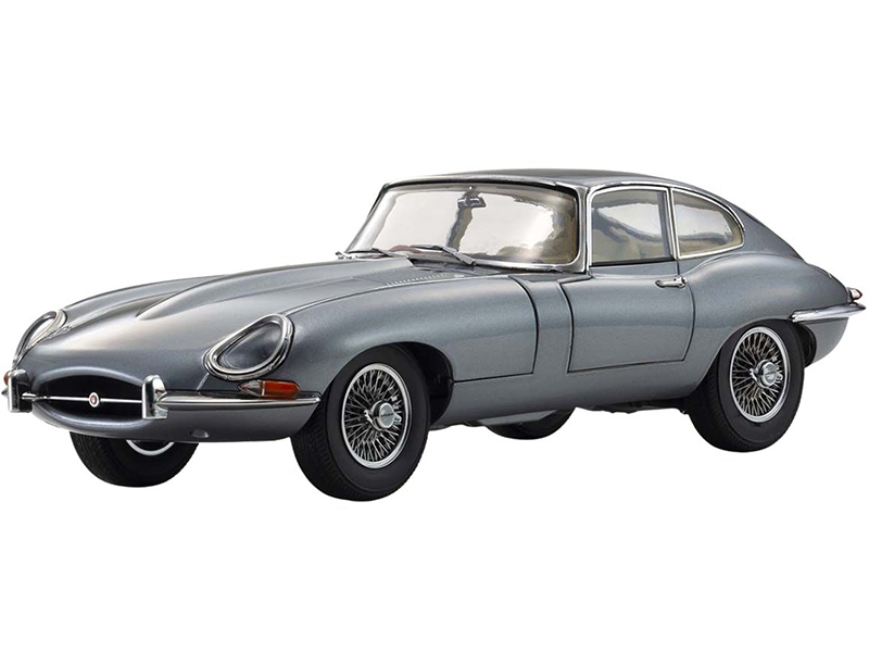 Jaguar E-Type Coupe RHD Right Hand Drive Dark Gray Metallic E-Type 60th Anniversary 1961-2021 1/18 Diecast Model Car Kyosho 08954