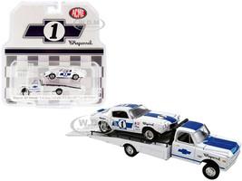 1967 Chevrolet C-30 Ramp Truck 1970 Chevrolet Trans Am Camaro #1 White Blue Stripes Chaparral Acme Exclusive 1/64 Diecast Model Cars Greenlight ACME 51344