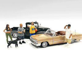 Lowriderz Dog 5 piece Figurine Set 1/24 Scale Models American Diorama 76373 76374 76375 76376