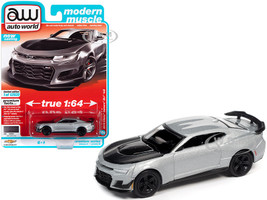 2019 Chevrolet Camaro ZL1 1LE Satin Steel Gray Metallic Black Hood Modern Muscle Limited Edition 12920 pieces Worldwide 1/64 Diecast Model Car Autoworld 64312 AWSP066 B