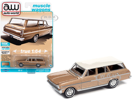 1963 Chevrolet II Nova 400 Station Wagon Saddle Tan Metallic Ermine White Top Muscle Wagons Limited Edition 13904 pieces Worldwide 1/64 Diecast Model Car Autoworld 64312 AWSP067 A