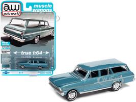 1963 Chevrolet II Nova 400 Station Wagon Azure Aqua Blue Metallic Muscle Wagons Limited Edition 13904 pieces Worldwide 1/64 Diecast Model Car Autoworld 64312 AWSP067 B
