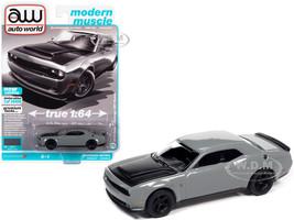 2018 Dodge Challenger SRT Demon Destroyer Gray Black Hood Modern Muscle Limited Edition 14408 pieces Worldwide 1/64 Diecast Model Car Autoworld 64312 AWSP068 A