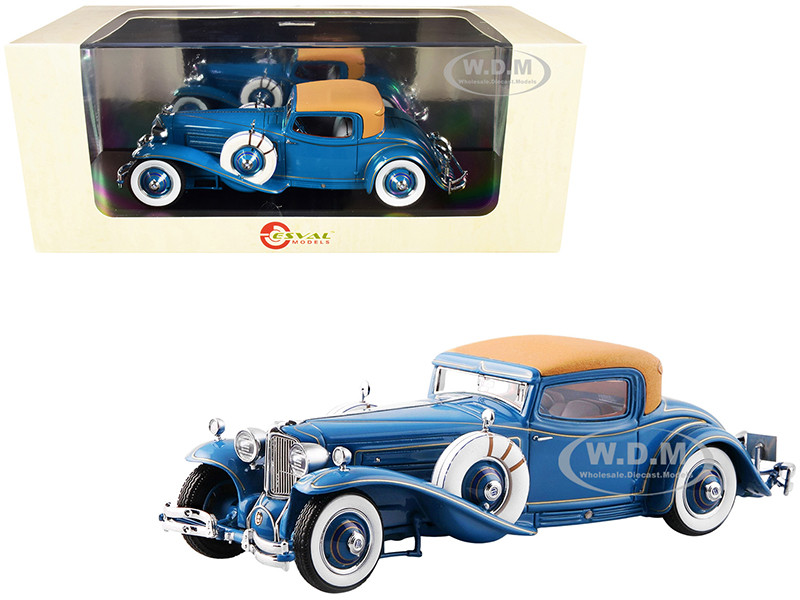 1929 Cord L-29 Coupe by Hayes Blue Brown Top Limited Edition 300 pieces Worldwide 1/24 Model Car Esval Models EMUS24003 A