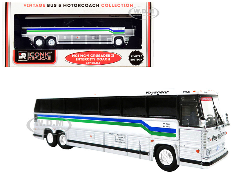 1980 MCI MC-9 Crusader II Intercity Coach Bus Voyageur Colonial Bus Lines Quebec Express Canada White Silver Stripes Vintage Bus & Motorcoach Collection 1/87 HO Diecast Model Iconic Replicas 87-0261