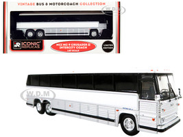 1980 MCI MC-9 Crusader II Intercity Coach Bus Blank White Silver Vintage Bus & Motorcoach Collection 1/87 HO Diecast Model Iconic Replicas 87-0264