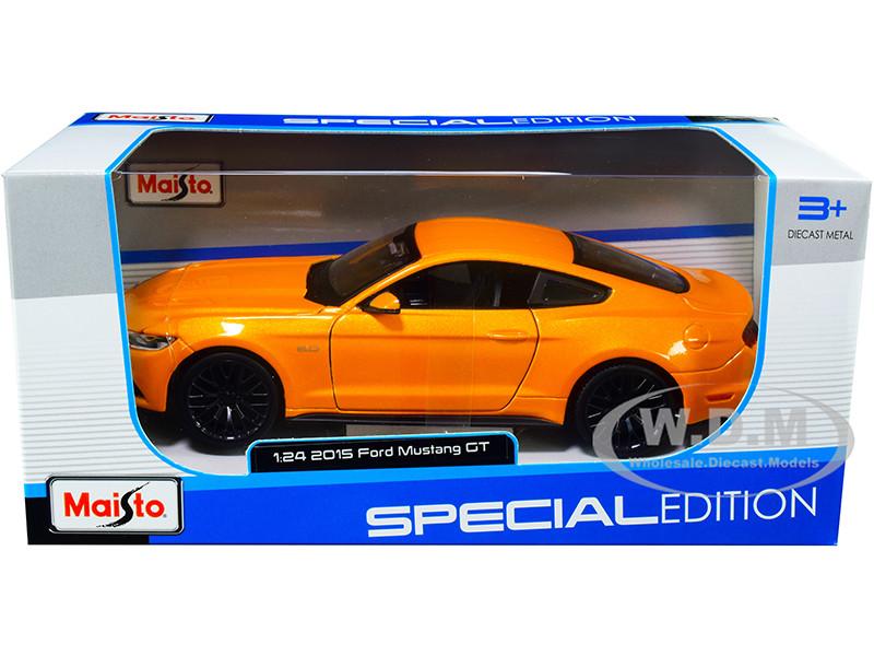 2015 Ford Mustang GT 5.0 Orange Metallic 1/24 Diecast Model Car Maisto 31508
