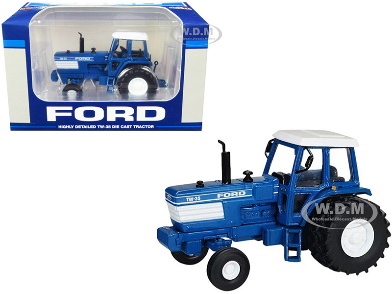 Ford TW-35 Tractor 2WD Duals Blue White Top 1/64 Diecast Model SpecCast ZJD1898