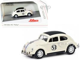 Volkswagen Beetle #53 Rallye Cream Stripes Black Top 1/87 HO Diecast Model Car Schuco 452188800