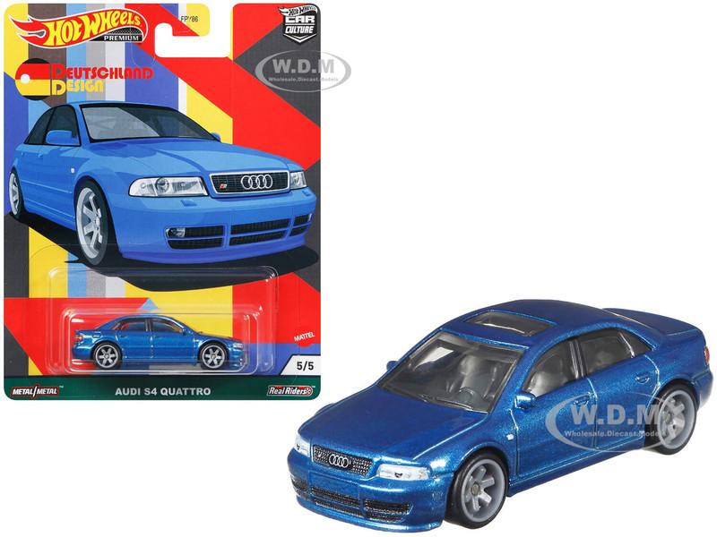 Audi S4 Quattro Sunroof Blue Metallic Deutschland Design Series Diecast Model Car Hot Wheels GRJ69