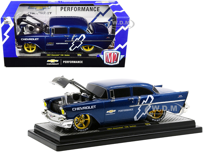 1957 Chevrolet 150 Sedan Dark Blue Metallic Black Hood Chevrolet Performance Limited Edition 6600 pieces Worldwide 1/24 Diecast Model Car M2 Machines 40300-84 B