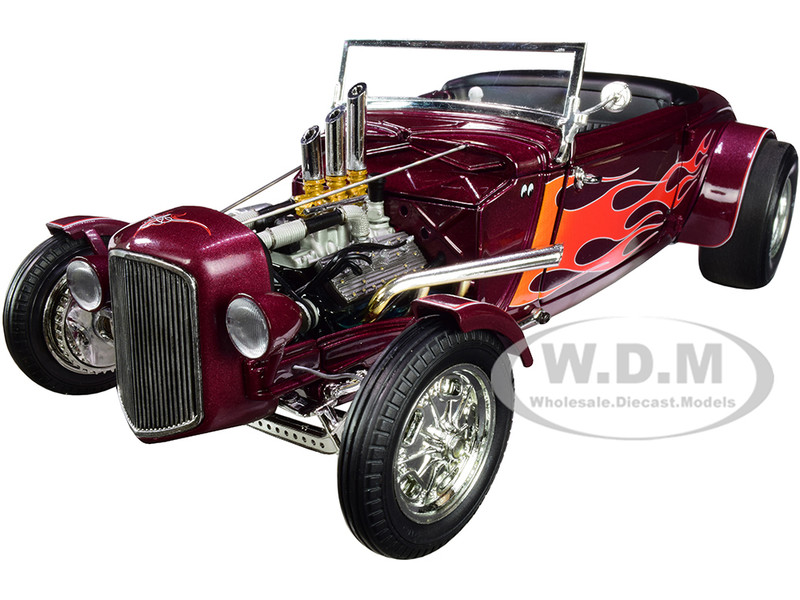 1934 Hot Rod Roadster Brandywine Burgundy Metallic Flames Limited Edition 450 pieces Worldwide 1/18 Diecast Model Car GMP 18926