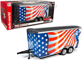 Four Wheel Enclosed Car Trailer American Flag Graphics American Muscle 30th Anniversary for 1/18 Scale Model Cars Autoworld AMM1266