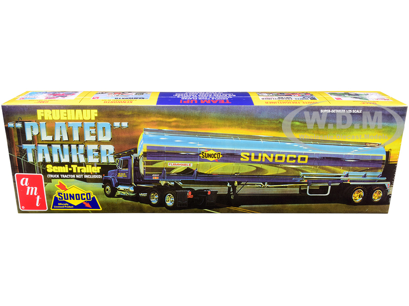 Skill 3 Model Kit Fruehauf Plated Tanker Semi-Trailer Sunoco 1/25 Scale Model AMT AMT1239