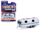 Airstream Land Yacht Custom Travel Trailer Silver Blue Stripes Hitched Homes Series 10 1/64 Diecast Model Greenlight 34100 A