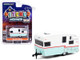 1962 Shasta Airflyte Travel Trailer White Teal Red Stripe Hitched Homes Series 10 1/64 Diecast Model Greenlight 34100 E