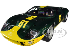 Ford GT40 Mk1 RHD Right Hand Drive #61 Racing Custom Green Metallic Yellow Stripes Competition Series 1/18 Diecast Model Car Solido S1803004