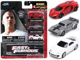 Fast & Furious Movie 3 piece Set Series 4 Nano Hollywood Rides Series Diecast Model Cars Jada 32482