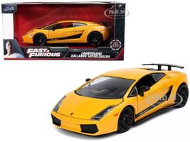 Lamborghini Gallardo Superleggera Yellow Black Stripes Fast & Furious Movie 1/24 Diecast Model Car Jada 32609