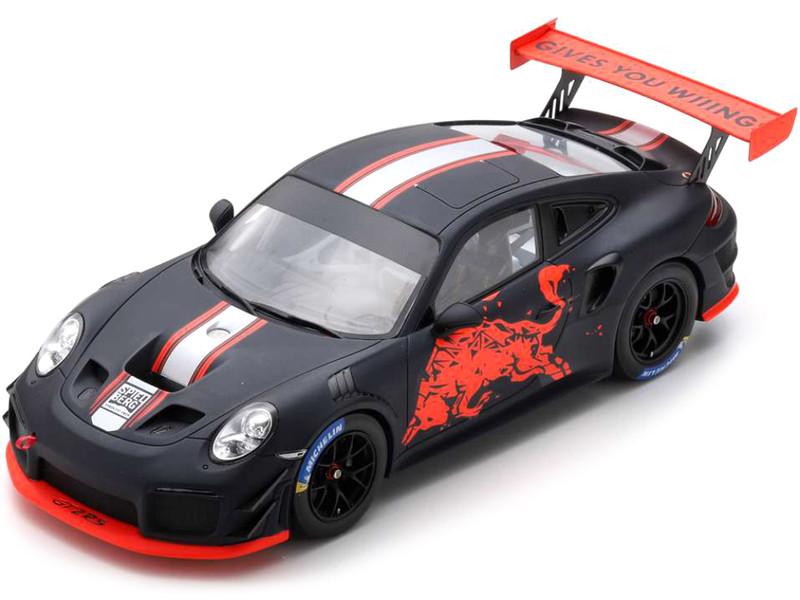 Porsche GT2 RS Matt Black Stripes Graphics Clubsport Red Bull 2019 1/18 Model Car Spark 18S514