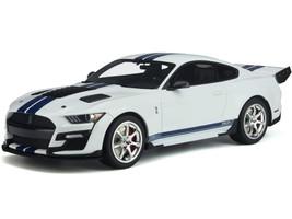 Ford Mustang Shelby GT500 Dragon Snake Oxford White Blue Stripes 1/18 Model Car GT Spirit GT306