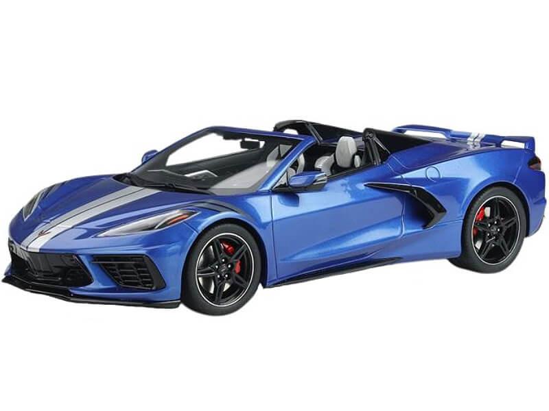 2021 Chevrolet Corvette Convertible Elkhart Blue Silver Stripes USA Exclusive Series 1/18 Model Car GT Spirit ACME US033