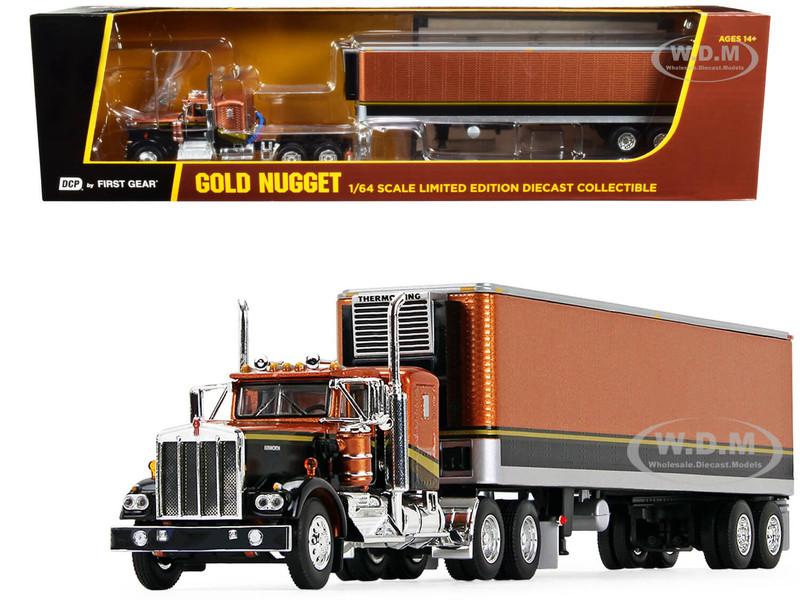 "Kenworth W900A 36"" Flattop Sleeper Cab 40' Vintage Refrigerated Reefer Trailer Gold Nugget Gold Black 1/64 Diecast Model DCP First Gear 69-1030"