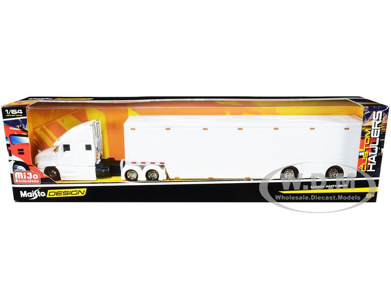 Mack Anthem Enclosed Transporter White Custom Haulers Series 1/64 Diecast Model Maisto 12418