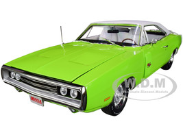 1970 Dodge Charger R/T Luggage Rack FJ5 Sublime Green White Top White Interior Hemmings Muscle Machines Magazine Cover Car November 2014 American Muscle 30th Anniversary 1/18 Diecast Model Car Autoworld AMM1249