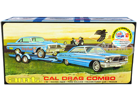 Skill 2 Model Kit Ford Cal Drag Team Ford Galaxie Ford Falcon Funny Car Trailer Set 3 Complete Kits 1/25 Scale Models AMT AMT1223