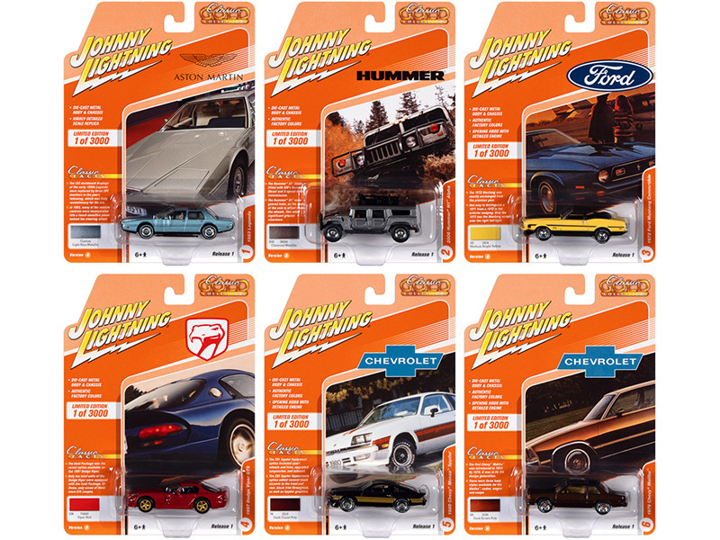 Classic Gold Collection 2021 Set A 6 Cars Release 1 Limited Edition 3000 pieces Worldwide 1/64 Diecast Model Cars Johnny Lightning JLCG024A