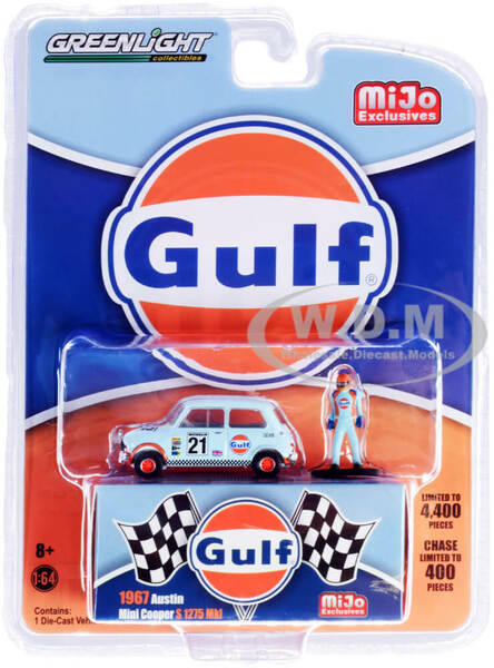 1967 Austin Mini Cooper S 1275 Mkl RHD Right Hand Drive #21 Gulf Oil Driver Figurine Limited Edition 4400 pieces Worldwide 1/64 Diecast Model Car Greenlight 51378