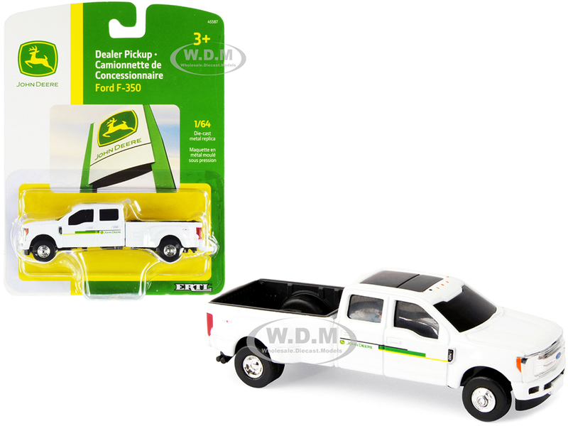 Ford F-350 Pickup Truck White John Deere Dealership 1/64 Diecast Model Car ERTL TOMY 45587