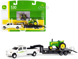 Ford F350 Dually Pickup Truck White John Deere 530 Tractor Green Flatbed Trailer Set 3 pieces 1/64 Diecast Models ERTL TOMY 45651