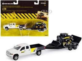 RAM 2500 Pickup Truck White New Holland L170 Skid Steer Loader Flatbed Trailer Set 3 pieces 1/64 Diecast Models ERTL TOMY 13862