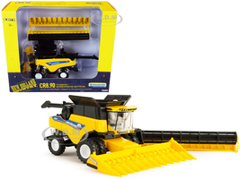 New Holland CR8.90 Combine Yellow Corn Head Draper Head New Holland Agriculture Series 1/64 Diecast Models ERTL TOMY 13870