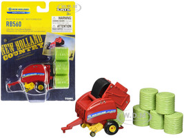 New Holland Roll-Belt RB560 Round Baler Red 6 Hay Bales New Holland Agriculture Series 1/64 Diecast Model ERTL TOMY 13873