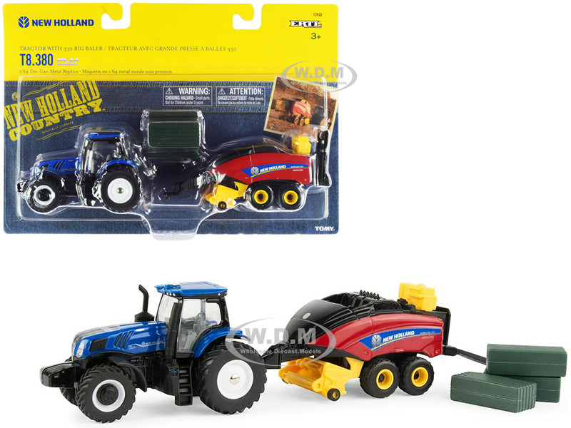 New Holland T8.380 Genesis Tractor Blue New Holland Big Baler 330 Red 3 Bales Set 3 pieces 1/64 Diecast Models ERTL TOMY 13948