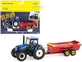 New Holland T6.165 Tractor Blue V-Tank Spreader Red Set 2 pieces 1/64 Diecast Models ERTL TOMY 13951