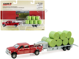 Dodge Ram 2500 Heavy Duty Pickup Truck Red Flatbed Trailer Silver 11 Hay Bales Set 3 pieces Case IH Agriculture Series 1/64 Diecast Models ERTL TOMY 14855