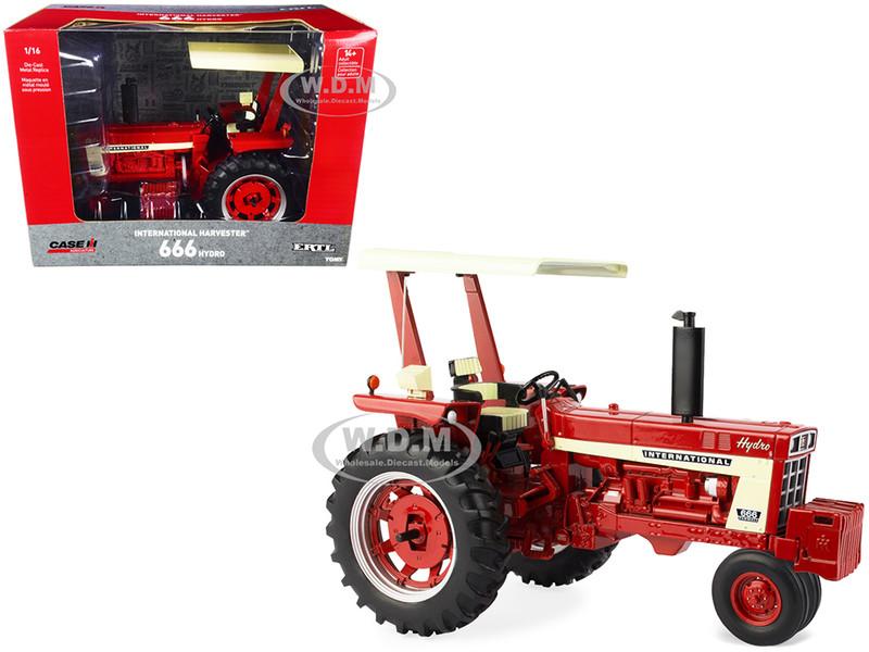 International Harvester 666 Hydro Tractor Fender Radio ROPS Red Cream Case IH Agriculture Series 1/16 Diecast Model ERTL TOMY 44219