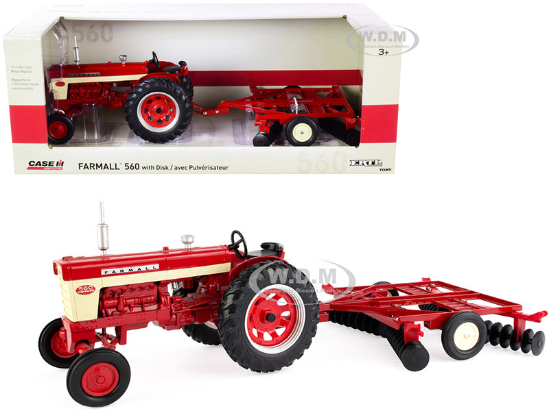 Farmall 560 Tractor Disс Harrow Red Case IH Agriculture Series 1/16 Diecast Model ERTL TOMY 44223