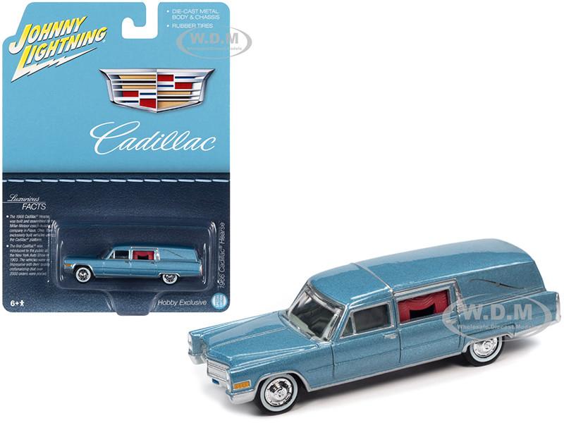 1966 Cadillac Hearse Light Blue Metallic Special Edition 1/64 Diecast Model Car Johnny Lightning JLSP114