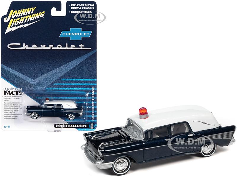 1957 Chevrolet Hearse Metisse Blue Metallic White Top 1/64 Diecast Model Car Johnny Lightning JLSP131