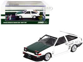 Toyota Sprinter Trueno AE86 RHD Right Hand Drive Drift Car White Green Carbon Hood 1/64 Diecast Model Car Inno Models IN64-AE86T-DC