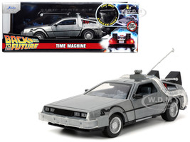 DeLorean Brushed Metal Time Machine Lights Back to the Future 1985 Movie Hollywood Rides Series 1/24 Diecast Model Car Jada 32911